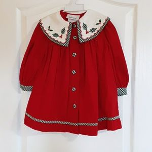 2T red corduroy holiday dress